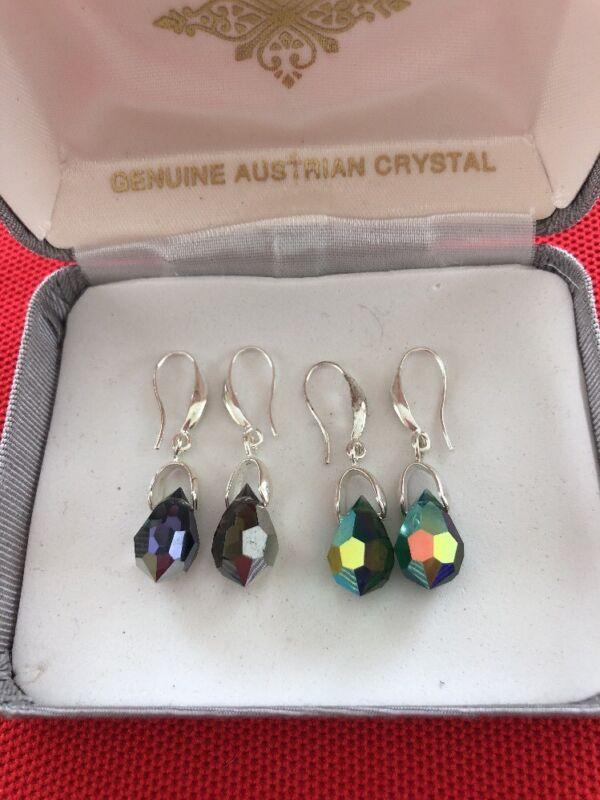 Lot x 2 Pairs Genuine AUSTRIAN CRYSTAL Estate Costume Earrings