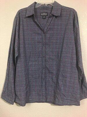 Women's Woolrich Plaid Checker Shirt Long Sleeve Button Down Purple/Pink Size L Pink Plaid Checker