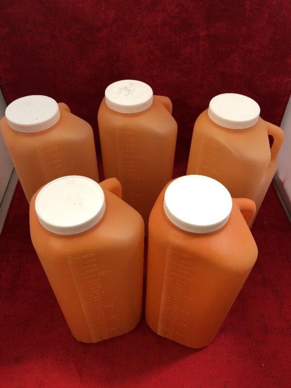 New Lot Of 5 3000ml Urine Sample Bottle Amber Jug W/lid See Listing