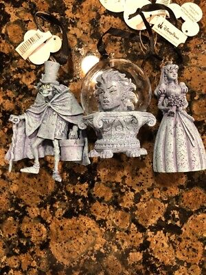 Disney Parks Haunted Mansion set of three Holiday Ornaments NEW