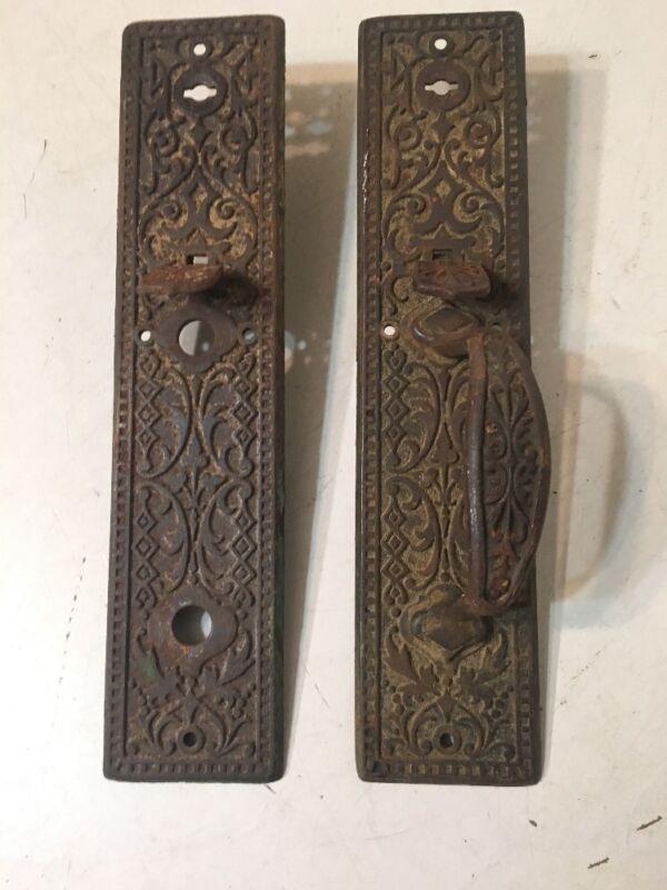2 Large Cast Iron Eastlake Antique Door Hardware Handle Plate