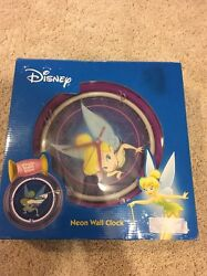 Disney Tinkerbell Fairy Charmed Green Neon Decorative Wall Clock 12