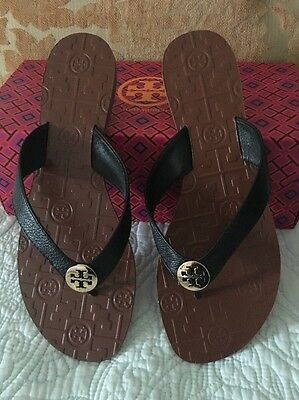 TORY BURCH Black/brown  GOLD LOGO THORA TUMBLED LEATHER Size 6 New