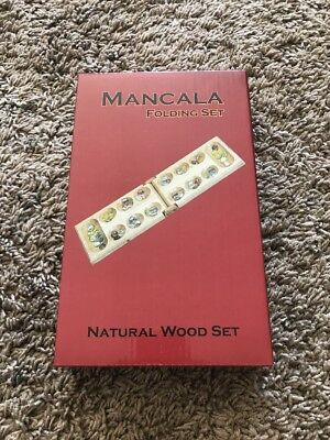 Mancala Game Set - Mancala Game Set Wooden Folding Hinged Board Clear Glass Gemstone FREE SHIPPING