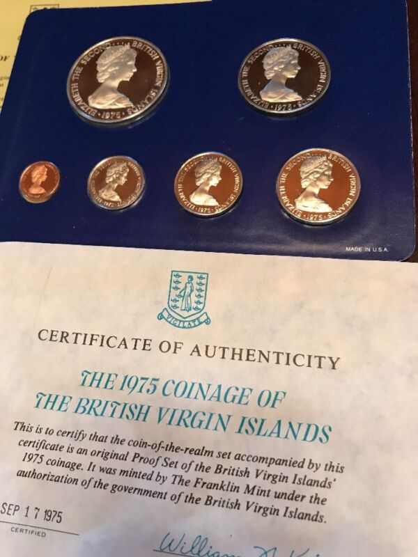UNC 1975 British Virgin Islands Proof 6 Coin Set ($1 Coin Silver)