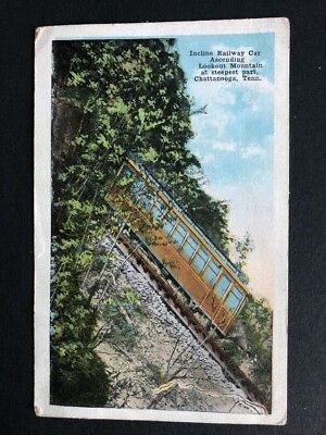 Vintage Postcard  Incline Railway Car Ascending Lookout Mountain Steepest Part