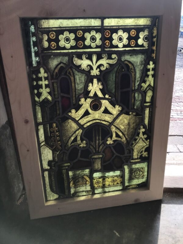 Sg 2546 antique painted in fired Gothic design Stainglass window 21 1/8 X29.5
