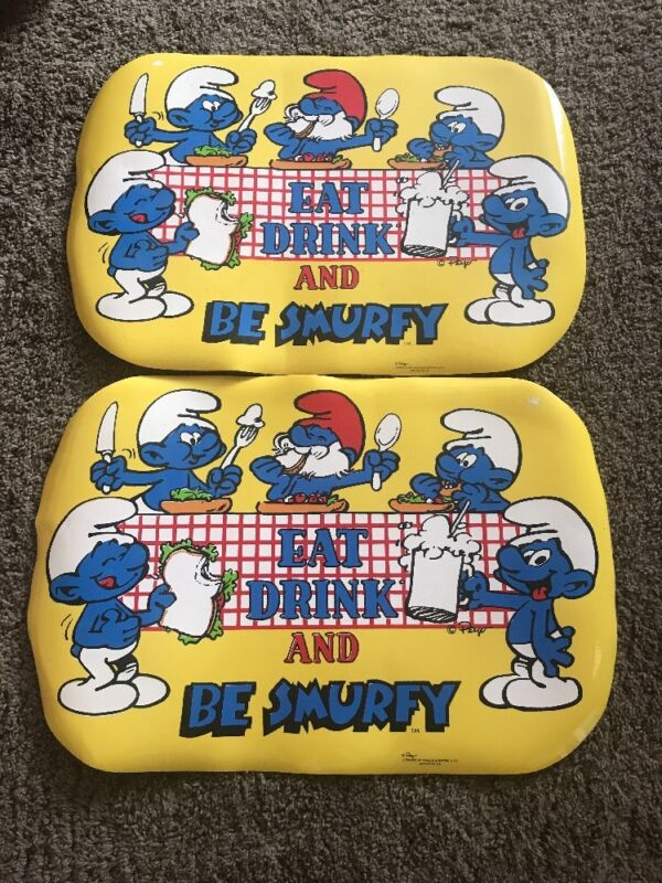 2 Vintage 1980's Smurfs Table Top Dinner Placemats
