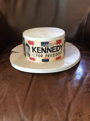 1960 Kennedy Johnson Campaign Convention Delegate Skimmer Hat 3549