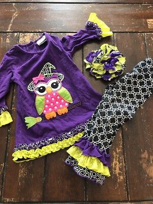 Emily Rose Girls 2 2t Halloween Witch Owl Outfit Hair Bow, Beautiful Set - Halloween Witches Outfits