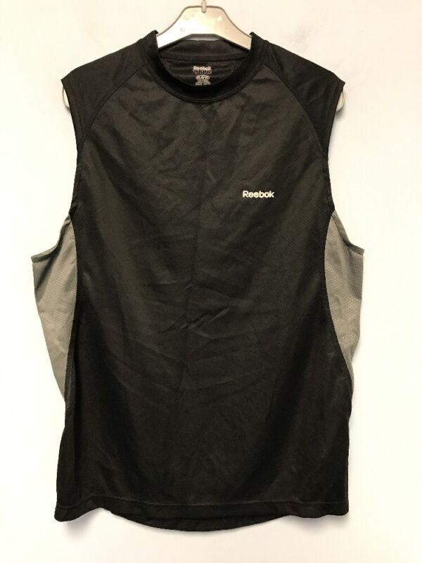 MEN Reebok Play Dry Workout Sleeveless Black/gray Top Tank Shirt Size:SMALL
