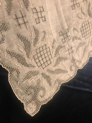 FAB! Victorian Style Bridal Embroidered Batiste Hankie White w Gray Undertone