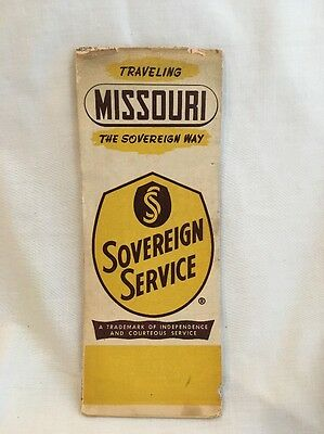 1950 Missouri road map Sovereign Service  oil gas route 66 Gas Oil