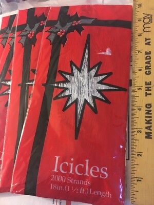 "VINTAGE 18"" 1 1/2 foot Icicles Tinsel 2000 Strands Silver tinsil CHRISTMAS TREE"