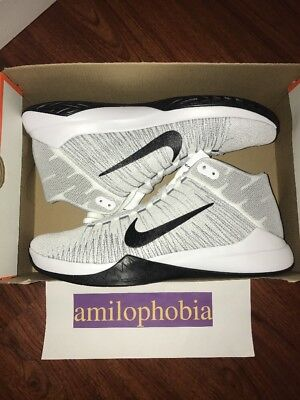 New Men's Nike Zoom Ascention Size 12 White Black Basketball Shoes