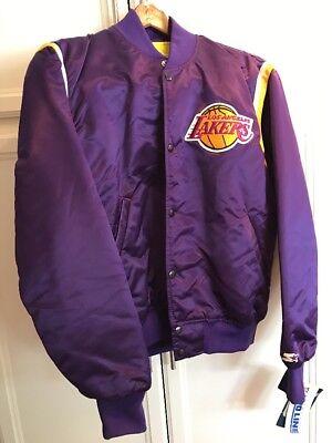NWT Vintage Large Purple Los Angeles Lakers Starter Pro Line Jacket Satin 90s