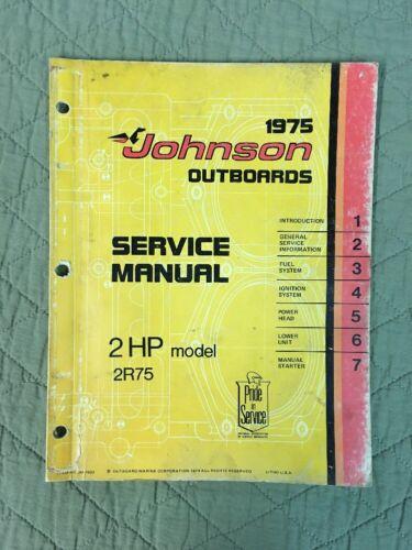 1975 JOHNSON OMC SERVICE MANUAL 2 HP P/N JM7502 OUTBOARD SHOP REPAIR