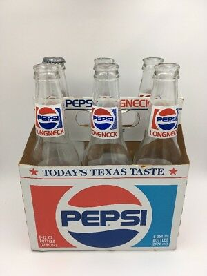 12 Oz Long Neck Glass (Pepsi Cola Long Neck Six 12 oz. Bottles Collectible Glass Empty With)