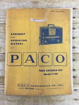 Vtg Original Paco T-60 Tube Checker Kit Tester Owners Operating Assembly Manual