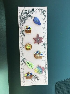Dogwood Lane Ceramic Buttons  Set Of 8  New Autumn Fall Leaves