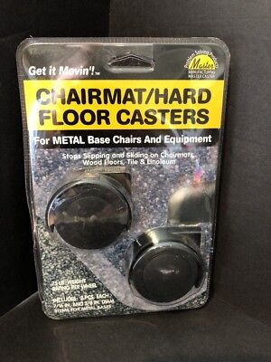 Replacement Chairmanhard Floor Casters For Metal Base Chairs - Black 2pack New