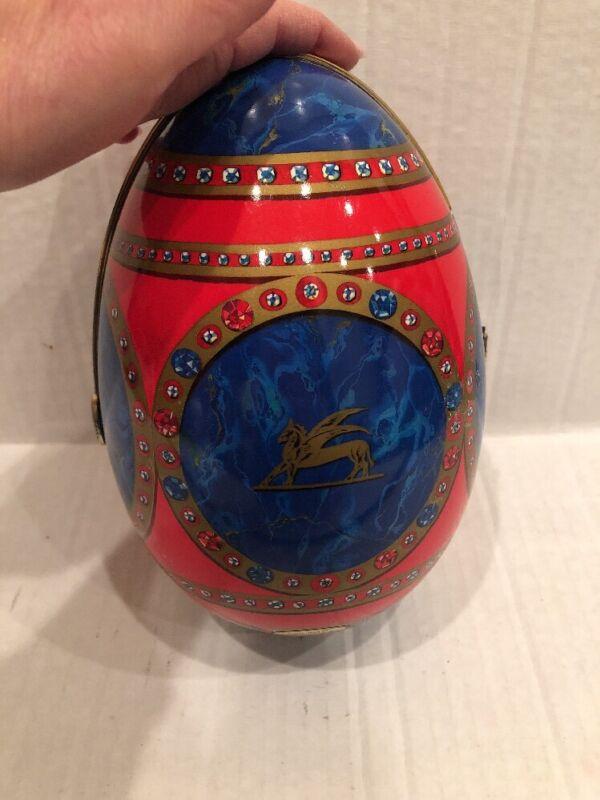 "Vintage Perugina Italia by S. Mantovani Red Blue Hinged Easter Egg 9"" Long"