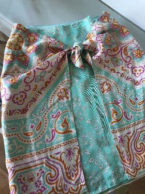J McLaughlin Women's Skirt SZ 6 Mint Green, Fushia, Orange Paisley Wrap With Tie for sale  Boca Raton