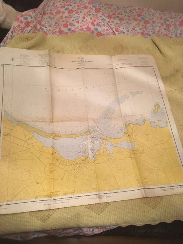 Vtg Nautical Chart: C&GS 935 Christiansted Harbor, West Indies