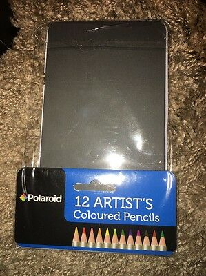 *Brand New* Polaroid 12 Artists Coloured Pencils In A Tin