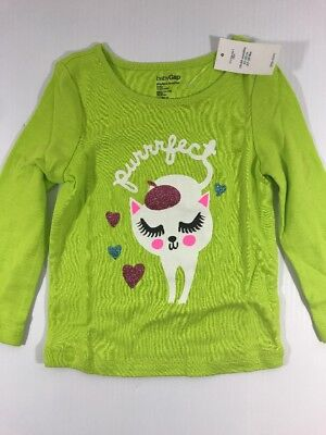 (Baby Gap Girls purrrfect Green Playtime Favorites Cat Heart Long Sleeve T shirt)