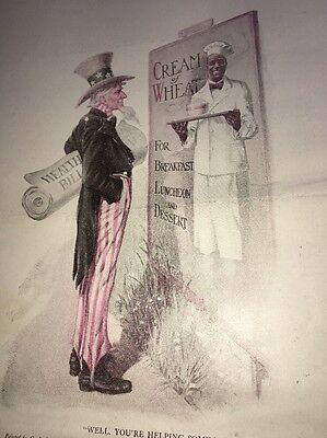 Cream Of Wheat Ad Rastus Black Man Memorabilia 1921 Uncle Sam Health Bill