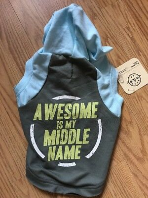 "BOND CO. ""AWESOME IS MY MIDDLE NAME""  HOODIE puppy/dog xsmall"