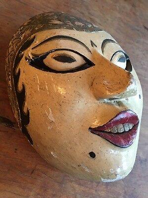 Very Fine Antique Indonesian Javanese Dance Mask Original Paint Excellent Patina