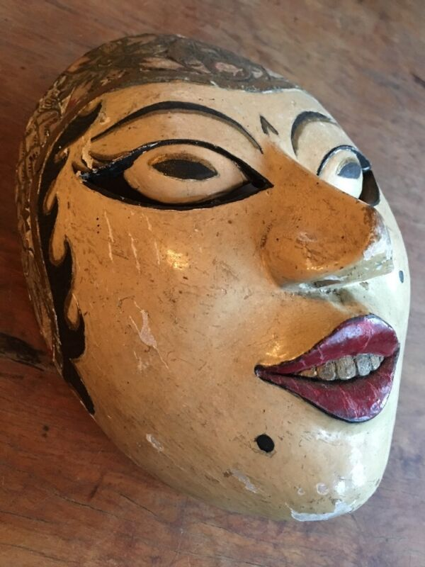 Very Fine Antique Indonesian Javanese Dance Mask Original Paint Excellent Patina