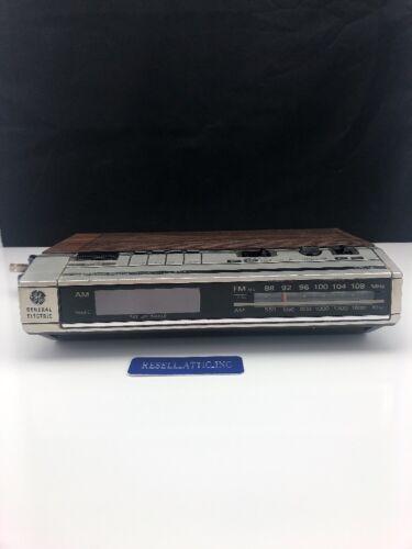 Vintage 80's GENERAL ELECTRIC GE 7-4634B woodgrain DIGITAL ALARM CLOCK RADIO