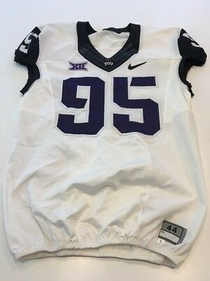 Game Worn Used Nike TCU Horned Frogs Football Jersey  95 Size 44 d06675322