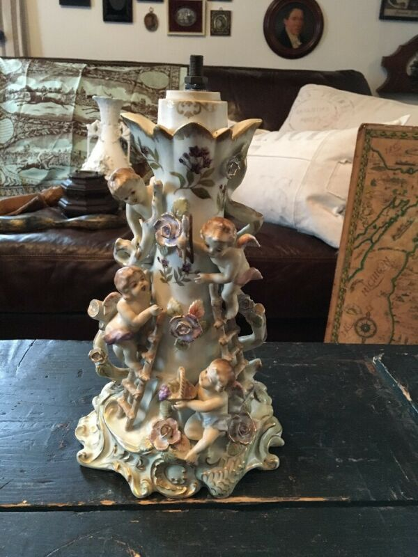 ANTIQUE PORCELAIN CHERUB LAMP BASE MARKED N6951 A STUNNING DETAILS