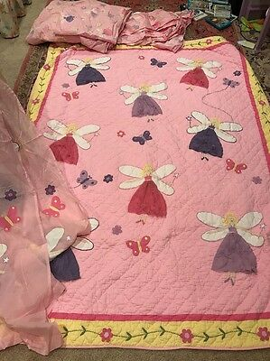 Company Kids Girls pink Fairy twin quilt, Curtains Duvet Cover Bed Skirt