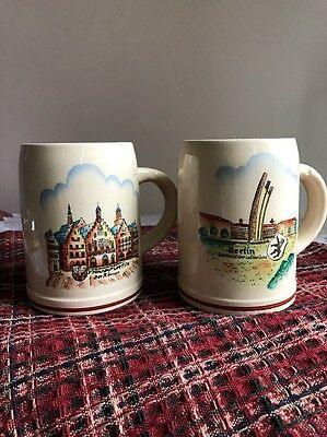 Pair Antique Western Germany Stoneware Beer Tankard 1/4 L Berlin & Frankfurt
