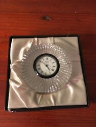 Atlantis Crisal Portugal Lead Crystal Clock Hand Blown & Cut  Desk/ Mantle