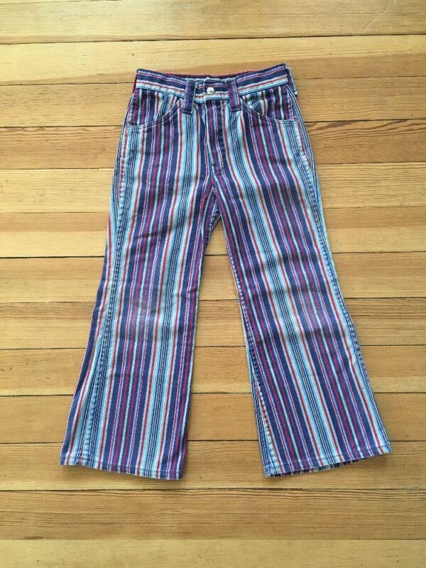 Vintage Hippie Jeans HILLBILLY BRAND Child Size Retro Striped Rare