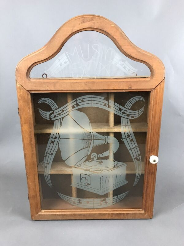 Music Gramophone record player wood hanging wall curio box