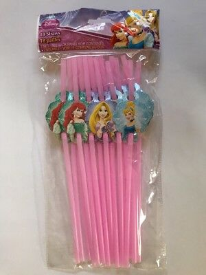 18 Disney Princesses Party Flexible Accordion Pink Straws With Decal NEW