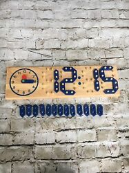 Children's Wooden Interactive Clock. Analog And Digital Time. No Brand Name.