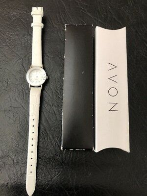 Avon Genuine Diamond Watch White Leather Strap Band Round Ladies New in Box