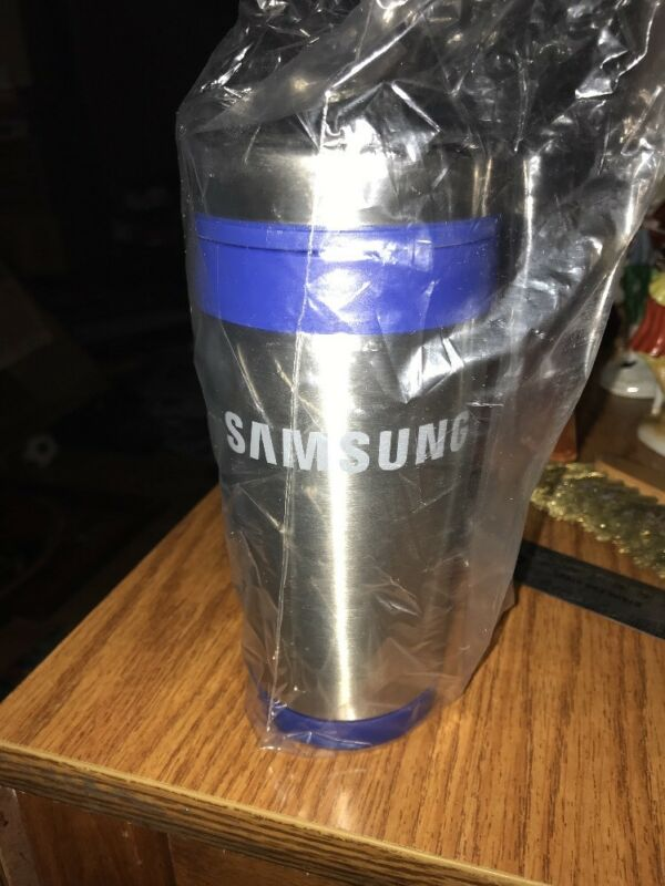 SAMSUNG Metallic Silver Insulated Coffee Cup Travel Mug Tumbler 15 Oz New