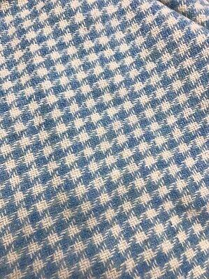 """Vintage Wool Tweed Fabric 60X34"""" Blue White"""