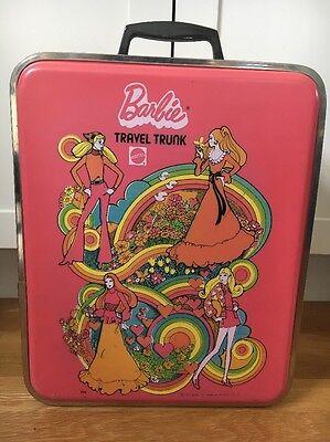 1972 Vintage Barbie Travel Trunk Pink Plastic Metal Rim Mattel