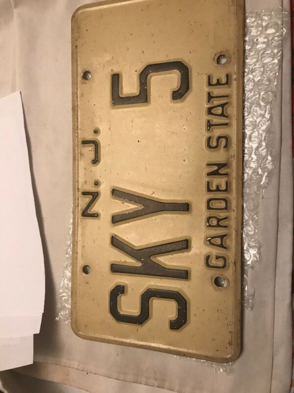 "VINTAGE ""SKY 5 "" NEW JERSEY GARDEN STATE VANITY OBSOLETE LICENSE PLATE TAG # 1"