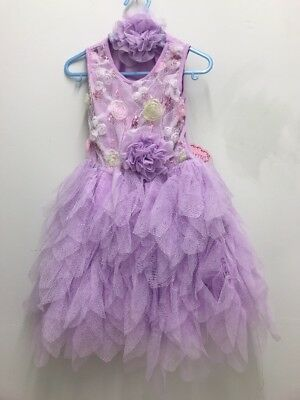 Popatu Girls Lavender Tulle Tutu Ruffle Floral Dress w/ Headband 2T/3T 4T/4 - Lavender Tutu